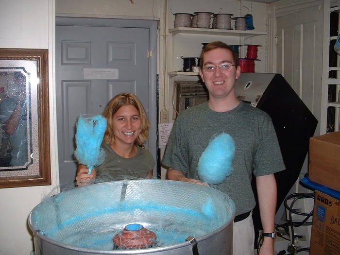 Mike & Heather making cotton candy.