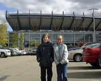 Heather's sisters, Ashlyn & Kayla, in front of the new Steeler's Stadium