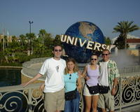 Glenn, Christina, Michael, & Heather in front of the Universal Studios globe