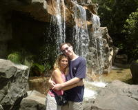 Mike & Heather by a waterfall at Animal Kingdom
