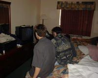 Andy and Roland watching cartoons