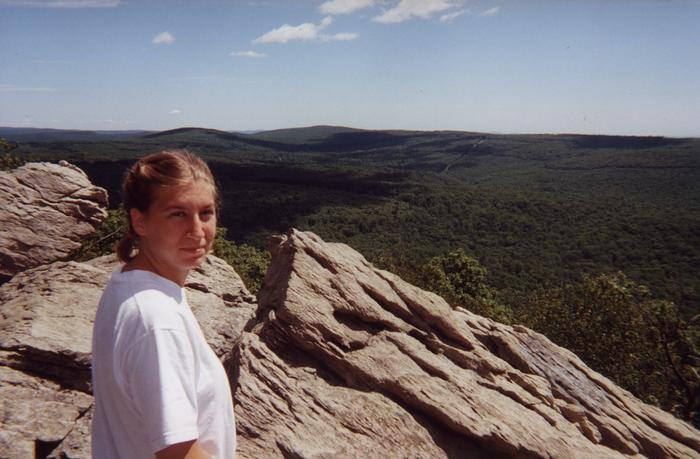 July 2000: Heather at Chimney Rocks
