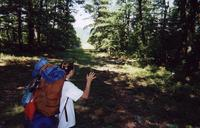July 2000: Heather leaving the camp site