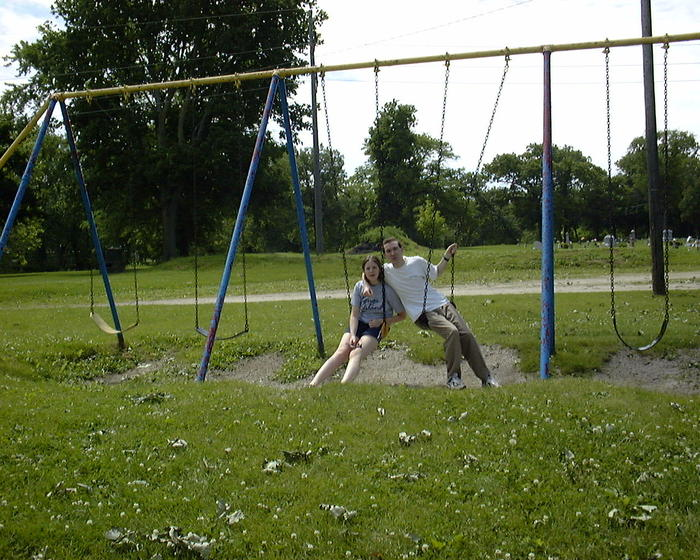 June 2: Mike & Amanda on the swings (Illinois)