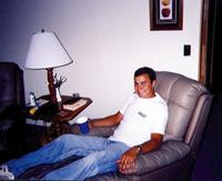 June 1999: Brian taking it easy in the cabin